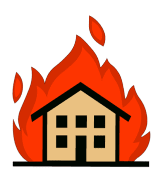 burning house icon
