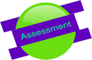 a frisbee with word of Assessment