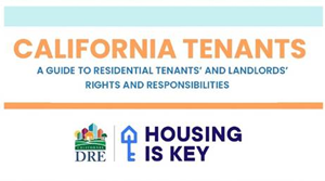 Housing is the key logo and words of California Tenants – A Guide To Residential Tenants' and Landlords' Rights and Responsibilities