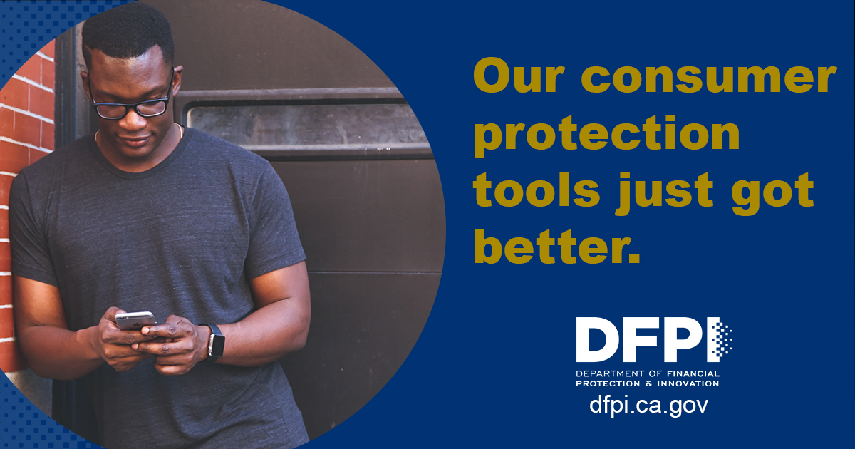 DFPI Social Media Toolkit post - Our consumer protection tools just got better