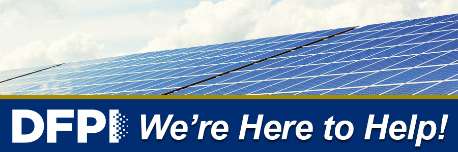 solar panel with word we are here to help
