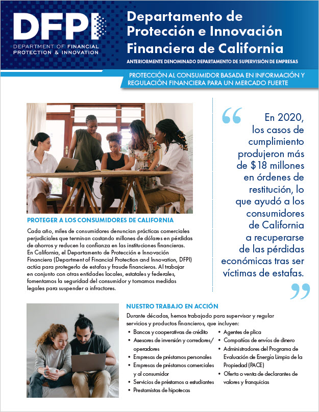 DFPI Onepager in Spanish