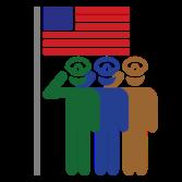Milltary team and a national flag